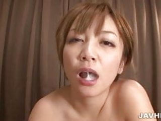 Mature Asian mom Meguru Kosaka gives a blowjob